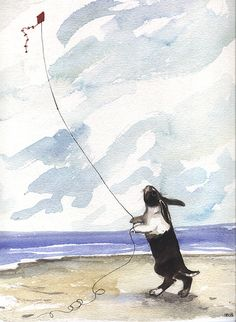 A Rabbit Flying A Kite
