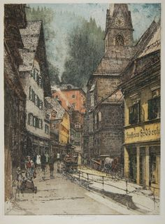 Luigi Kasimir, 1881-1962, Austrian, Bad Gastein, Kirche (Main Street), color etching with aquatint