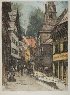 Luigi Kasimir, 1881-1962, Austrian, Bad Gastein, Kirche (Main Street), color etching with aquatint