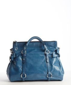 40792e7bf4f Miu Miu - Ocean Blue Leather Convertible Top Handle Shopping Tote - Lyst