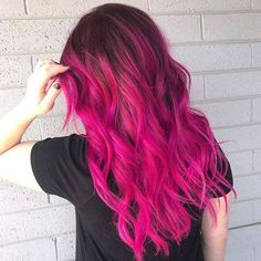 Trendy hair color pink balayage hairstyles 29 Ideas - All About Hairstyles Pink Ombre Hair, Hair Color Pink, Cool Hair Color, Red Ombre, Hot Pink Hair, Best Pink Hair Dye, Dark Pink Hair, Ombre Color, Medium Hair Styles