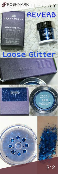 Urban Decay Heavy Metal Loose Glitter - Reverb New in Box - Never Used (Swatches from Google)  Full Sz & Authentic  Color: Reverb (bright, deep blue)  Heavy Metal Loose Glitter comes in a clear jar (so you can see all the gorgeous glitter inside) topped with a shaker & highly metalized gunmetal cap.  Don't forget to check out the rest of my page for more great items & discounts. #oneinamillionjillian Urban Decay Makeup