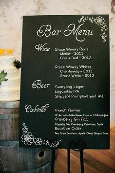 Featured photographer: Emily Wren Photography; wedding reception idea: bar menu display