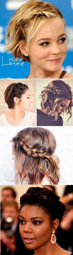 Penteados para cabelos curtos crespos, cacheados e lisos