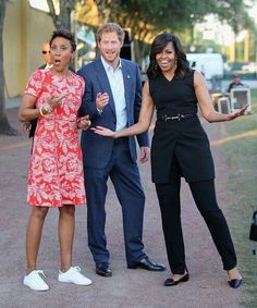 Prince Harry, First Lady Michelle Obama and presenter Robin Roberts ahead of the Opening Ceremony of the Invictus Games Orlando 2016 at ESPN Wide World of Sports on May 2016 in Orlando, Florida.