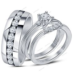 1.20CT.T.W Round VVS1 Diamond 9k White Gold Plated Wedding Unisex Trio Ring Set