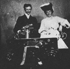 Tesla with an unidentified woman.