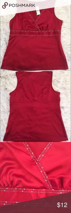 NWT NEW YORK & CO Embellished Tank Embellished Tank  New York & Co. 100% Polyester Hand Wash, Dry Flat Size - XL Color - Red 20.5 inch bust 26.5 inches long New York & Company Tops Tank Tops