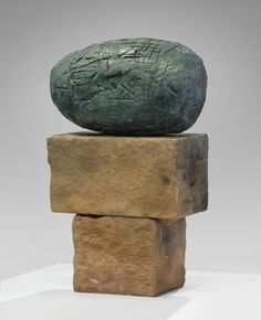 "William Turnbull, ""Head,"" 1957 Bronze on stone base"