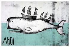 Für Seeleute: Print mit Wal, maritimes Weihnachtsgeschenk / christmas gift, maritime, whale, present by TreeChild via DaWanda.com