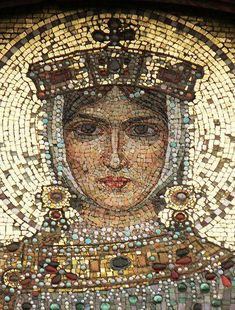 A mosaic depicting Saint Eudoxia (Byzantine Empress in the Alexander Nevsky Cathedral, Sofia, Bulgaria. Byzantine, for Mosaic Art, Mosaic Glass, Glass Art, Mosaic Portrait, Art Antique, Byzantine Art, Byzantine Mosaics, Byzantine Icons, Religious Art