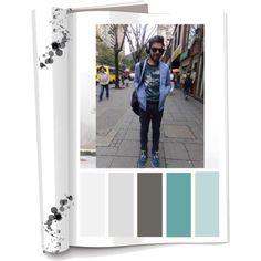 Paleta de color: Colores Frios con mezcla de cálidos (Negro, gris,azul,verde,blanco) Ropa: Pantalón,chaqueta de jeans, camisa con estampado y tenis. Accesorios:Mochila,gafas y audífonos de diadema. Es una persona descomplicada,divertido y social.Ama la musica