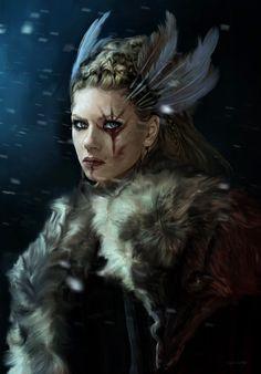 Skjaldmær fanart - digital painting of Viking's character Lagertha