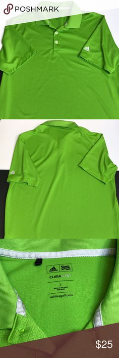 Adidas CLIMALITE Golf Polo Shirt Large EUC Lime Green Adidas CLIMALITE Large Golf Polo Shirt. Logo on Sleeve. Excellent Condition. No holes or stains from smoke free home Adidas Shirts Polos