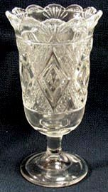 "Did you know that almost every one of the 1300 (or so) EAPG patterns that came with more than a four piece table set, was made in a celery vase????  It is a mystery that so many of these forms were made because surely they didn't serve that much celery in the Victorian era.  This pretty pattern, GRAND aka Diamond Medallion was made by Bryce Higbee ca. 1885.  It is 7 3/4"" tall & $58."