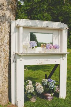 Fireplace mantle for ceremony backdrop