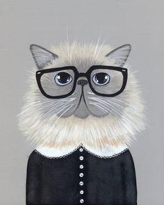 La Hipster persan chat lunatique Folk Art par KilkennycatArt