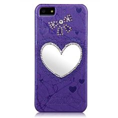 Swarovski Elements Crystal Leather Mirror Case for iPhone 5 & 5S - Purple Heart