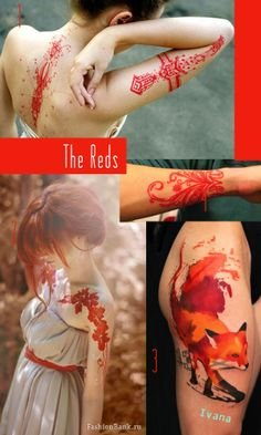 It would be cool to get several  small series of tattoos, each in different colors from the color wheel.