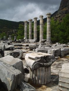 These are ruins of columns from the city of Priene and its Temple of Athena from 4th century BC. The Ionic columns stand on a base that separates the actual column from the base. Ionic columns are more slender and refined than those of the Doric order, and have been found both fluted and not. The capitals of Ionic orders are embellished with scrolling detail, but not nearly as much as seen in the Corinthian order.