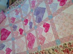 Oh sooo girlie!   Warm lovely heart quilt very feminine. by QuiltsbyNona on Etsy, $225.00 My Mom, Quilting, Feminine, Warm, Blanket, Unique Jewelry, Handmade Gifts, Crafts, Etsy