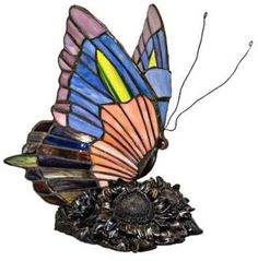 Bed Bath & Beyond River of Goods 8.75-Inch Stained Glass Butterfly Accent Lamp in Blue/Orange. Gorgeous lamp, original gift. #butterflies #lamps #afflnk