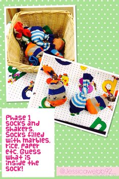 Phase 1 phonics socks and shakers. Socks filled with things such as marbles, rice and paper. What do you think is inside the sock? Phonics Reading, Teaching Phonics, Teaching Kids, Listening Games, Listening Skills, Nursery Activities, Phonics Activities, Spring Activities, Activities For Kids
