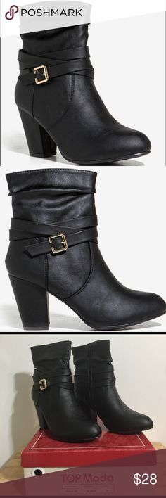 """👢NEW! Running Wild Bootie 👢 New with Tags and Box 🌺Let your wild heart run free with these boho-cute faux leather booties! They features a slouchy short shaft wrap around buckled strap at Ankle and short black and heel. Round toe. Cushioned insole. Side zip closure. Measures: 🍁 Shaft measures approx. 7"""" long 🍁Heel measures approx.  3.75"""" high 🍁All man made materials  🍁Made in China ✔️All Reasonable Offers Accepted ✔️Bundled Discounts❗️💰 ❌NO LOWBALLING 🌹Thank you for stopping…"""