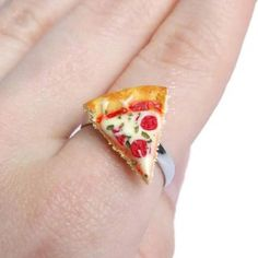 Anyone else hungry for lunch? Gifts For Nan, Gift For Lover, Pizza Shapes, Small Envelopes, Ring Shapes, Rings Cool, Color Ring, Handmade Polymer Clay, Miniature Food
