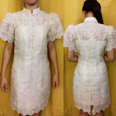Modern Filipiniana Gown, Filipiniana Wedding, Lace Dress, Dress Up, White Dress, Barong Tagalog For Women, Beige Dresses, Formal Dresses, Chic Outfits