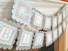 Baby Blue Elephant Happy Birthday Banner - Blue and Grey Chevron - Party Packs Available $28