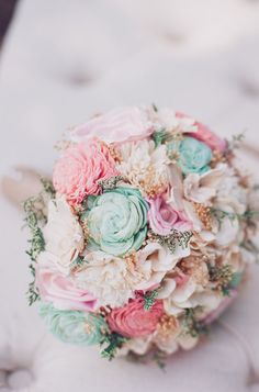 Romantic Wedding Bouquet Pink and Mint by CuriousFloralCrafts