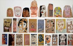 Paper bag faces at Adam Baumgold Fine Art by Rafael Ferrer, who was the subject of a recent retrospective at El Museo del Barrio; the faces are drawn in different mediums and styles. Art Doodle, Collages, Middle School Art, Arts Ed, Face Art, Art Faces, Recycled Art, Art Classroom, Art Plastique
