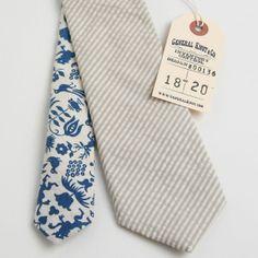 Seersucker Stripe & Vintage 1950's Folk Print Two Tone Tie - Handmade Vintage Ties, Bow Ties, Pocket Squares, and Men's Furnishings - General Knot & Co. ($50-100) - Svpply