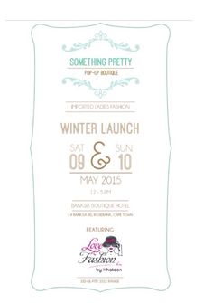 Cape Town Trunk Show 9 and 10 May Something Pretty Pop Up featuring LoveFashionKM Cape Town, 9 And 10, Pop Up, Winter Fashion, About Me Blog, Product Launch, Pretty, Womens Fashion, Winter Fashion Looks