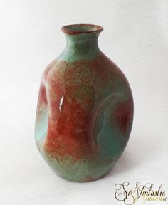 30s Dutch Westraven Utrecht dimpled pottery art vase, triangular shaped and with bottle neck. Beautiful item and beautiful gradient glazing in green and rusty brown by SoVintastic, €28.95