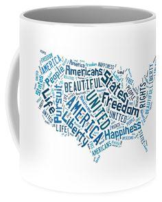 The United States Of America Map Art Coffee Mug.