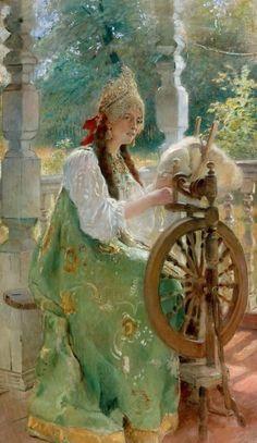 Боярышня за прялкой (дочь Ольга)