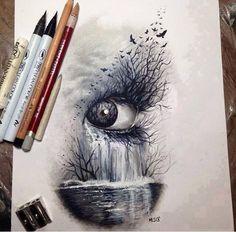 Dark nature, eye # art # sketch of crayons: - Top 99 Pencil Drawings Amazing Drawings, Easy Drawings, Amazing Art, Unique Drawings, Cool Eye Drawings, Art Drawings Beautiful, Drawing Faces, Drawing Sketches, Drawing Ideas
