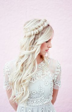 Fishtail braid crown - wedding hair #wedding