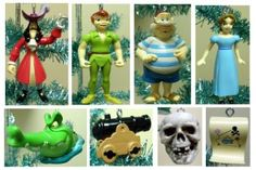 Disney Peter Pan 10 Piece Holiday Christmas Ornament Set Featuring Tinker Bell, Skull Island, Wendy, Captain Hook, Smee, Peter Pan, Treasure Chest, Treasure Map, Cannon. I could totally make a mobile out of this!
