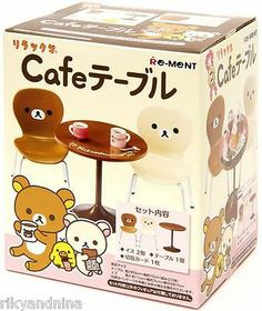 Rilakkuma Re-Ment CAFE TABLE & CHAIRS collectible rement doll house miniatures, £28.00