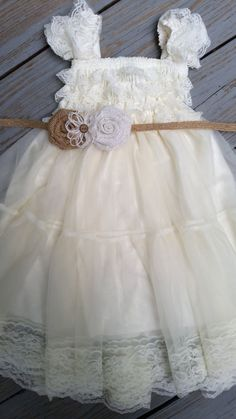 I love this Sarah. Ivory Lace Flower Girl Dress Ivory Lace Baby by TheDaintyDaisyNJ, $50.50