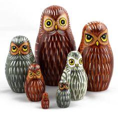 Owls Russian Wooden Nesting Stacking Handmade Dolls Bird Matryoshka Babushka 7pc in Collectibles, Animals, Birds | eBay