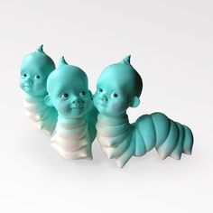 Wormbaby - sculpture tête de bébé Caterpillar - figurine insolite