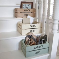 Personalised Crate - Small Storage a lovely family craft project Crate Storage, Small Storage, Storage Bins, Shoe Storage, Crate Shelves, Record Storage, Wood Crates, Wooden Boxes, Small Wooden Crates