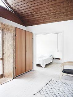 Wood and white interior.
