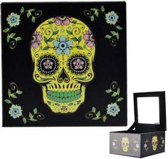 Yellow Day of the Dead Mirror Storage Tarot Jewelry box [FBM527] - $19.95 : Wicca, Pagan and Occult Practice Mega Store - www.thetarotoracle.com