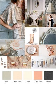 One day, could use these colors for my wedding :)  Blush Nude Gray Inspiration Board