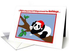 Christmas Humor Panda Bear in Santa Hat with Wine card